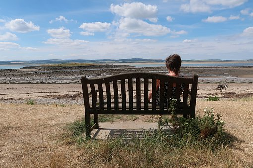 Bench, Sitting, Woman, Desolate, Wild, Unspoiled, Alone
