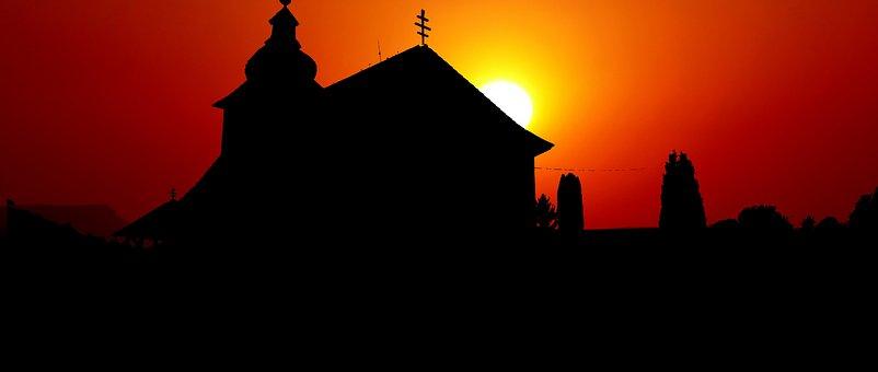 Sunset, Architecture, Church, Wood