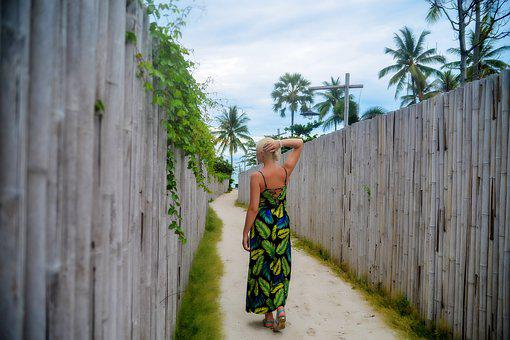 A Girl In A Long Dress, Figure, Wooden Fence