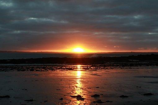 Sunset, Ocean, Brittany, Sea, Beach