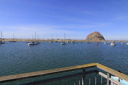 Boats, Morro Bay, California, Sea, Ocean, Nature, Beach