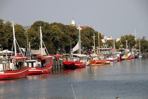 Harbour, Fishing, Boats, Coast, Warnemünde, Germany