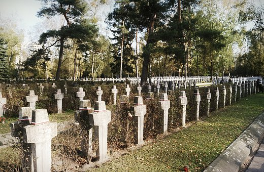 Cross, Stone, Lined Up, The Lines, Cemetery, Graves