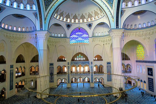 Cami, Architecture, Dome, Chandelier, Istanbul, Islam
