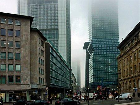 Fog, Skyscraper, Ffm, Frankfurt, Glass, Facades