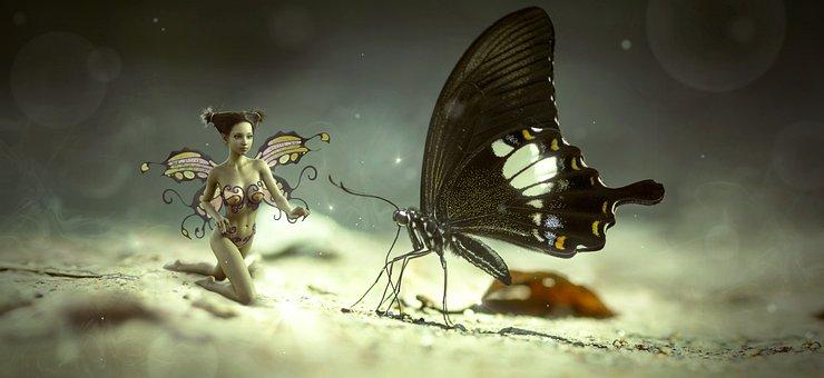 Fantasy, Butterfly, Elf, Encounter