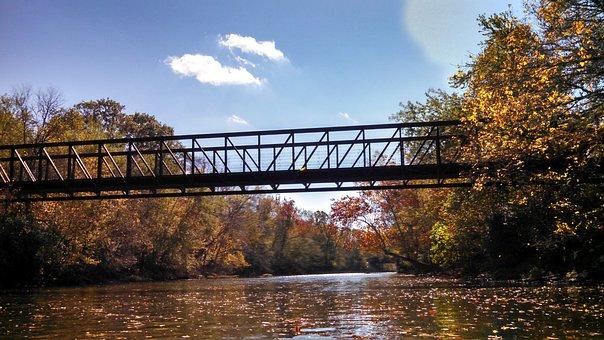 Footbridge, Big Walnut Creek, River