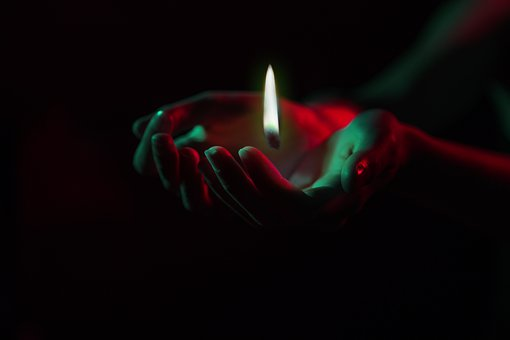 Flame, Hands, Red, Green, Candle, Fire