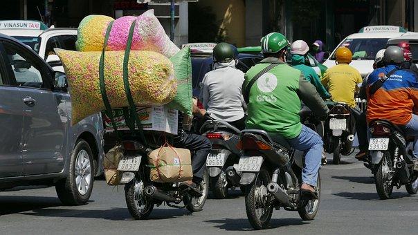 Motorcycle, Traffic, Street, Transport, Helmet