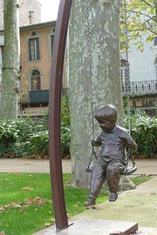 Image, Statue, Sculpture, Brass, Swing, Child, Play