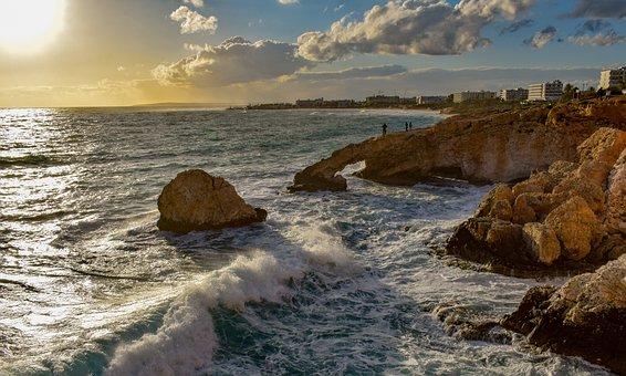 Waves, Rough Sea, Landscape, Sky, Clouds, Horizon