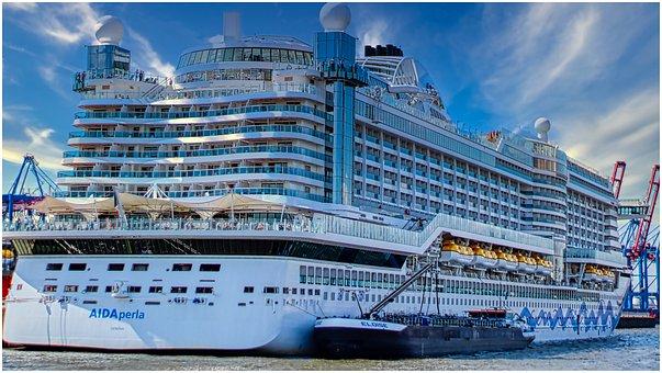 Cruise Ship, Large, Ship, Port, Water, Ozeanriese, Aida