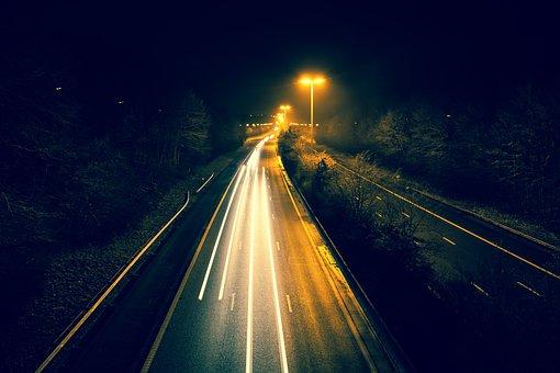 Highway, Night, Speed, Road, Light