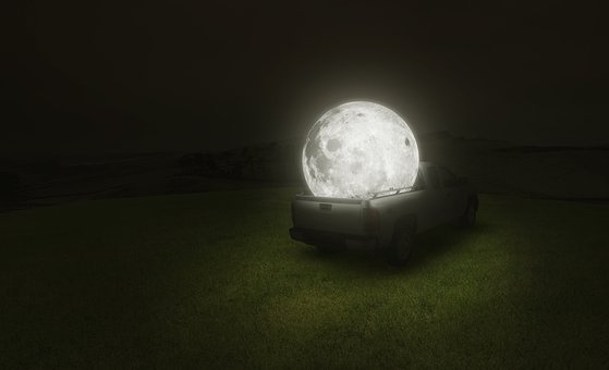 Fantasy Moon, Moon On Car, Car, Moon, Light, Star
