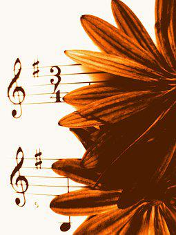 Music Background, Music, Sepia, Flowers, Vintage, Clef