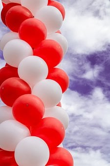 Celebrations, Group, Red, Balloon, Holidays, Objects