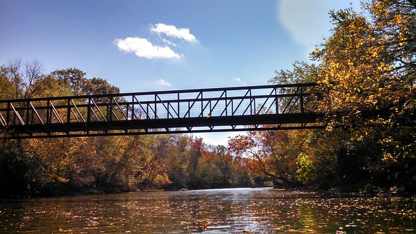 Footbridge, Big Walnut Creek, River, Leaves, Nature
