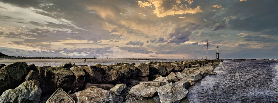 Sea, Trouville, France, Rocks