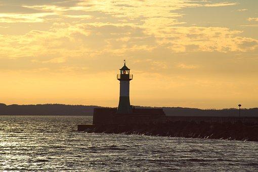 Lighthouse, Sea, Sun, Sunset, Port, Dusk