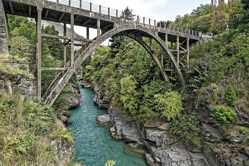 New Zealand, Bridge, Shot Over River, River, Water