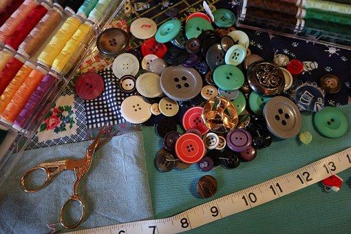 Buttons, Color, Spools Scissors, Metre, Button