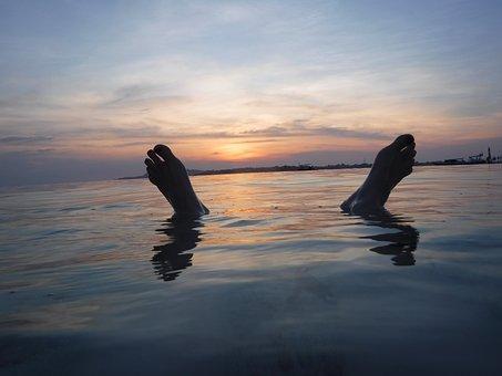 Sunset, Feet, Sea, Swimming, Beach