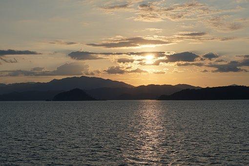 Sunset, Costa Rica, Vacations, Sun, Sea, Nature, Water