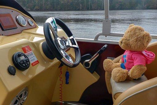 Teddy Bear, Teddy, Bear, Soft, Plush, Cuddly, Boating
