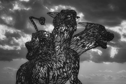 Kerberos, Three Headed, Beast, Sculpture, Metallic, Art