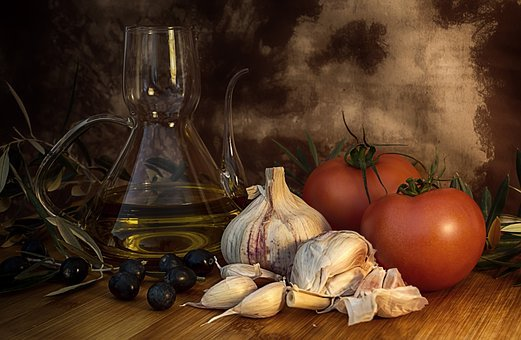 Still Life, Food, Olive Oil, Tomatoes, Healthy, Garlic