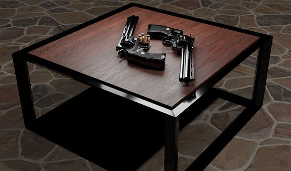 Coffee Table, Weapon, Colt Python, 3d