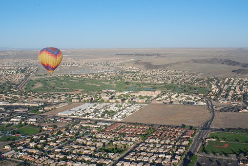 Hot Air Balloon, Ballooning, Above Town, Albuquerque Nm