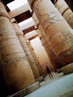 Colonnade, Columns, Karnak, Egypt, Luxor, Architecture