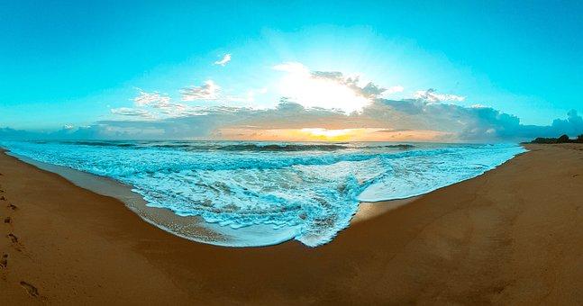 Beach, Sunrise, Morning, Sky, Horizon, Hawaii, Couple