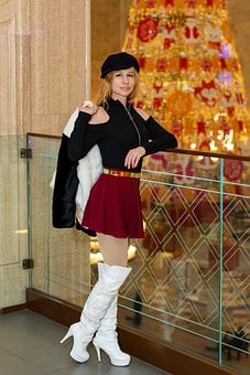 Fashion, Boots, Skirt, Fur Coat, Legs, Belt, Headdress