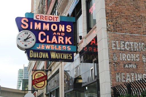 Detroit, Sign, Neon, Building, City, Architecture