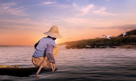 Fisherman, Lake, Sunset, Burma, Asia