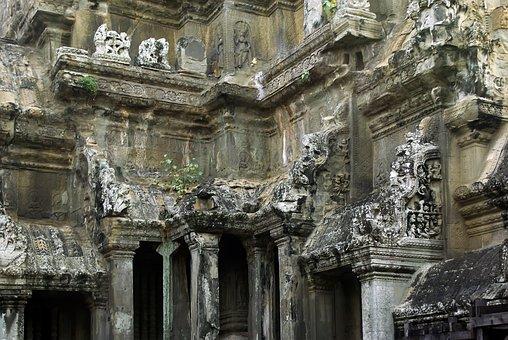 Cambodia, Angkor, Angkor Wat, Temple, Basement, Statue