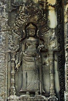 Cambodia, Angkor, Angkor Wat, Temple, Warrior, Statue