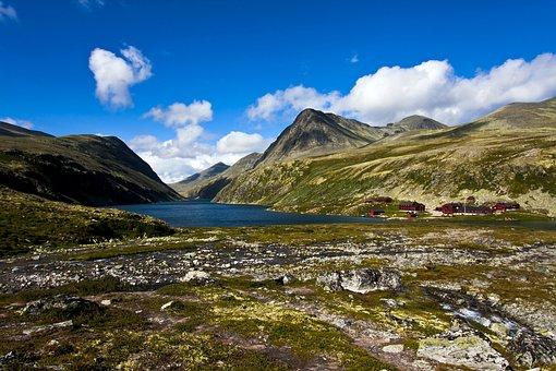 Landscape, Mountain, Water, Sky, Clouds, Summer