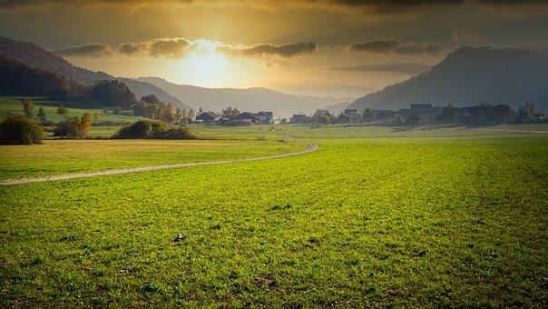 Meadow, Field, Away, Village, Mountains