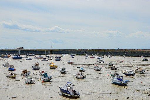 Port, Boats, Ebb, Flood, Sea, France, Stranded, Boat