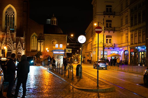 Krakow, Night, Nightlife, Light, Poland, City