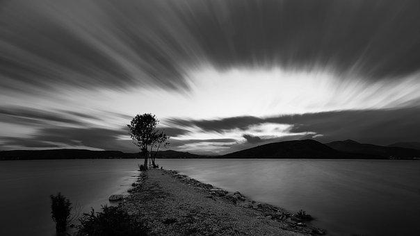 Black White, Water, Sea, Lake, Travel