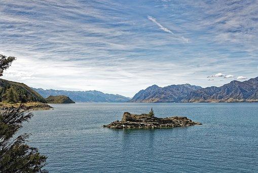 New Zealand, Lake Hawea, Lake, Water