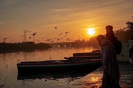 Sunrise, Morning, Nature, Boat, Landscape, Sky, Lake