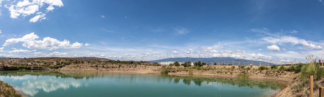 Blue Wells, Boyaca, Sky, Clouds, Lake, Well, Mountains