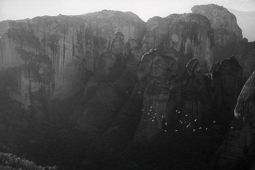 Black White, Rocks, Meteora, Greece, Landscape