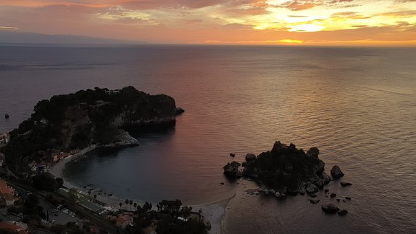 Dawn, Sicily, Sunset, Sea, Italy, Landscape, Water