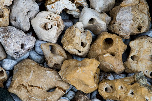 Stones, Holes, Nature, Collection, Pile